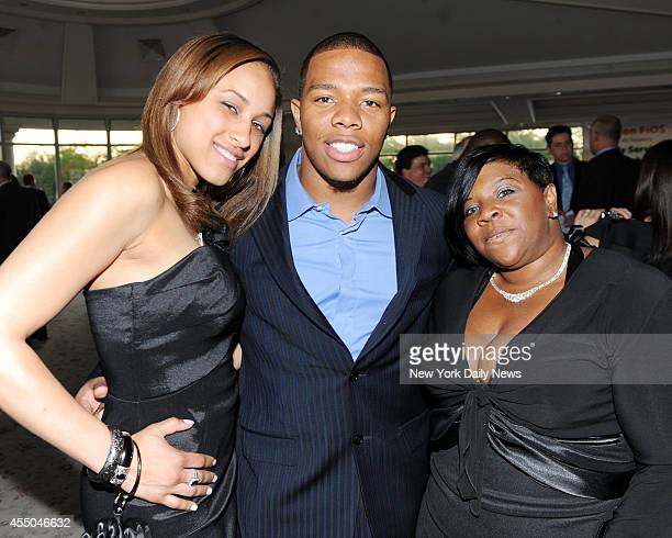 Ray Rice with his gal Janay Palmer and his mother Janet Rice on right at The Star Galla for Strengthen Teach and Reach Out to Youth and Family...