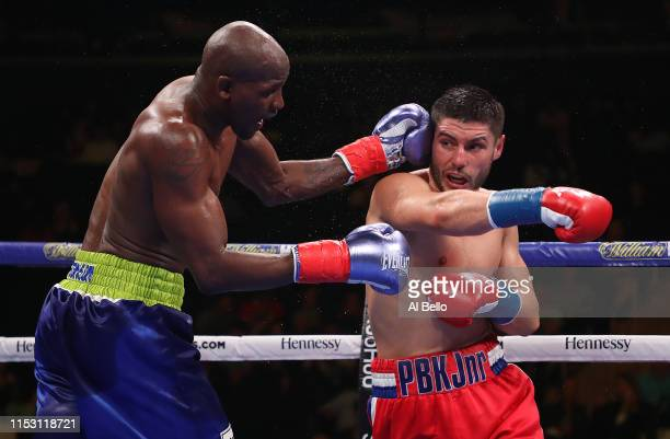 Ray Robinson punches Josh Kelly during their welterweight fight at Madison Square Garden on June 01, 2019 in New York City.