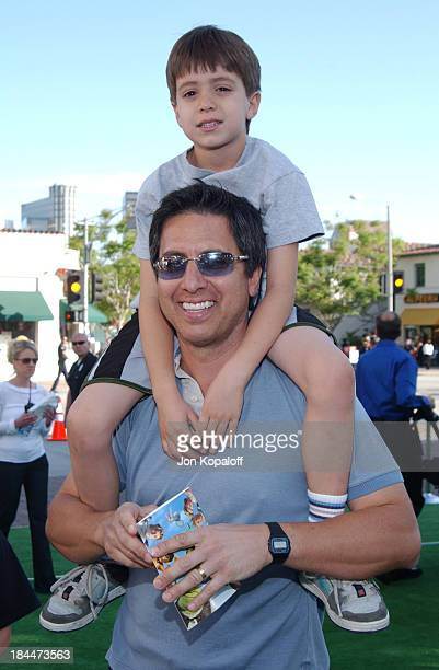 """Ray Romano and son during """"Shrek 2"""" Los Angeles Premiere - Green Carpet at Mann Village Theatre in Westwood, California, United States."""