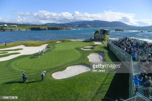 Ray Romano chips onto the seventeenth hole green during the third round of the ATT Pebble Beach ProAm at Pebble Beach Golf Links on February 9 2019...
