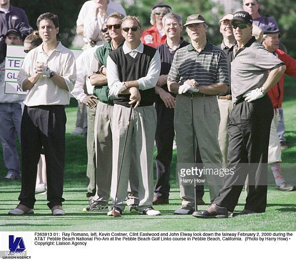 Ray Romano left Kevin Costner Clint Eastwood and John Elway look down the fairway February 2 2000 during the ATT Pebble Beach National ProAm at the...