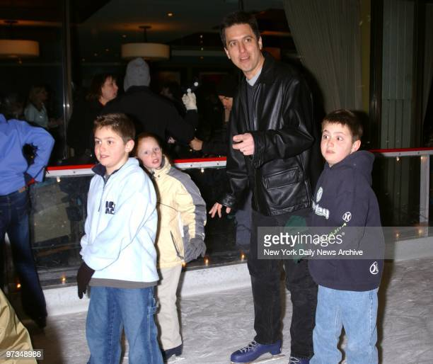 Ray Romano takes to the ice at Rockefeller Center rink with sons Matt and Gregory Celebs turned out to celebrate the premiere of the movie Ice Age...