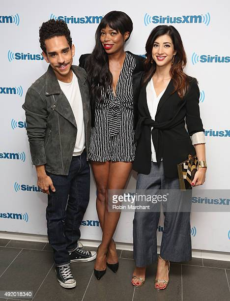 Ray Santiago, Jill Marie Jones and Dana DeLorenzo visit at SiriusXM Studios on October 9, 2015 in New York City.