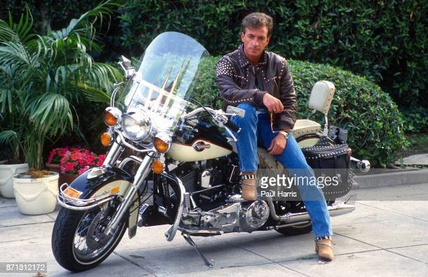Ray Sharkey on his Harley Davidson in the Hollywood Hills December 12 1989 Los Angeles Hollywood California