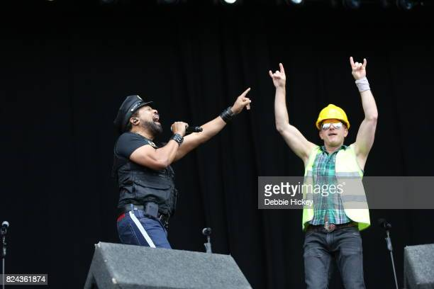 Ray Simpson and Bill Whitefield of Disco group Village People performs on stage during Punchestown Music Festival at Punchestown Racecourse on July...