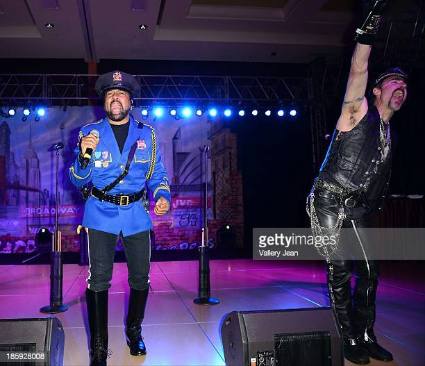 Ray Simpson and Eric Anzalone of The Village People perfoms at the 13th Annual Footy's Bubbles Bones Gala at Westin Diplomat on October 25 2013 in...