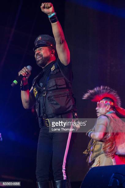 Ray Simpson and Felipe Rose of Village People perform at Rewind Festival on August 19 2017 in HenleyonThames England