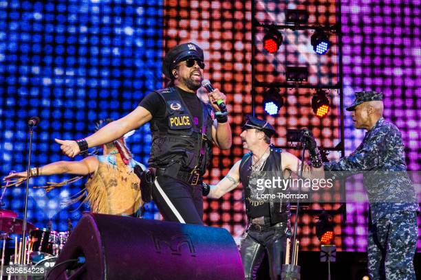 Ray Simpson Eric Anzalone and Alex Briley of Village People perform at Rewind Festival on August 19 2017 in HenleyonThames England