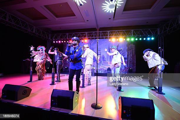 Ray Simpson Jim Newman Bill Whitefield Felipe Rose Eric Anzalone and Alex Briley of The Village People perform at the 13th Annual Footy's Bubbles...