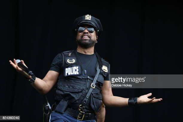 Ray Simpson of Disco group Village People performs on stage at during Punchestown Music Festival at Punchestown Racecourse on July 29 2017 in Naas...