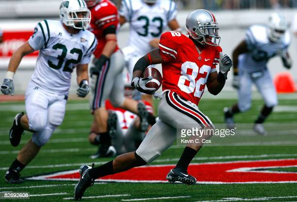 Ray Small of the Ohio State Buckeyes returns a punt for a touchdown against the Ohio Bobcats during the game at Ohio Stadium on September 6, 2008 in...