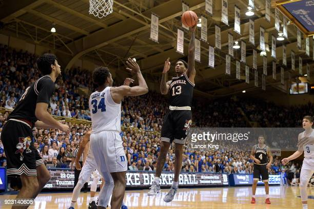 Ray Spalding of the Louisville Cardinals puts up a shot against the Duke Blue Devils at Cameron Indoor Stadium on February 21 2018 in Durham North...