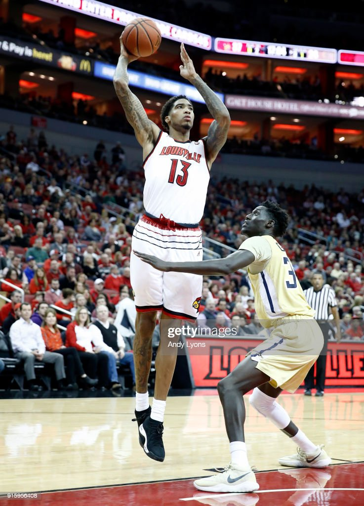 Ray Spalding #13 of the Louisville Cardinals shoots the ball against the Georgia Tech Yellow Jackets during the game at KFC YUM! Center on February 8, 2018 in Louisville, Kentucky.