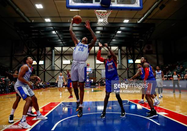 Ray Spalding of the Texas Legends goes to the basket against Johnny Hamilton of the Grand Rapids Drive during on December 12 2018 at DeltaPlex Arena...