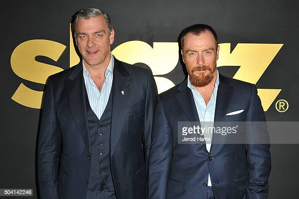 Ray Stevenson and Toby Stephens arrive at the STARZ PreGolden Globe Celebration at Chateau Marmont on January 8 2016 in Los Angeles California