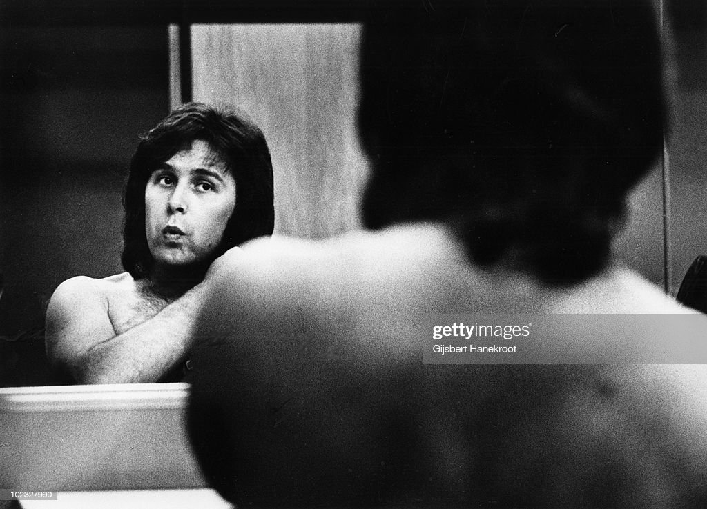 Ray Stiles from Mud posed in the dressing room at Hilversum TV Studios, Holland in 1975