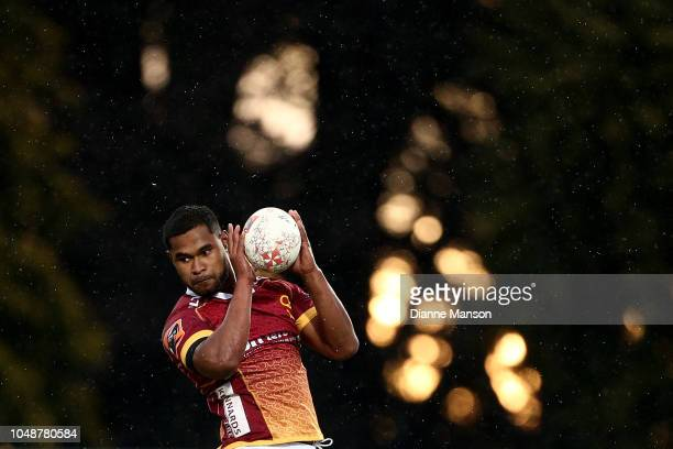 Ray Tatafu of Southland secures the lineout ball during the round nine Mitre 10 Cup match between Southland and Auckland at Rugby Park Stadium on...