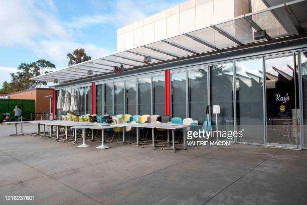 Ray, the restaurant at the LACMA Museum is pictured closed, amid the Covid 19 pandemic, May 29 in Los Angeles, California. - Governor Gavin Newsom...
