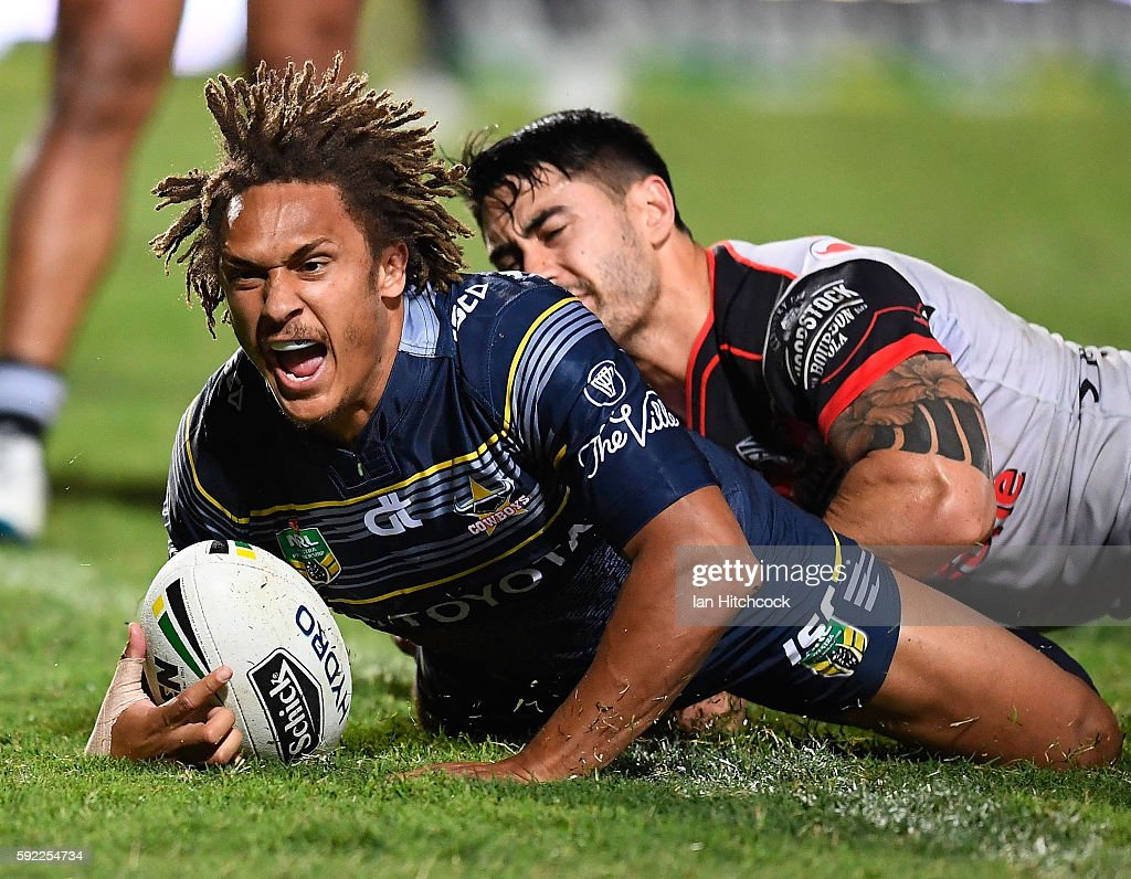 Ray Thompson of the Cowboys celebrates after scoring a try during the round 24 NRL match between the North Queensland Cowboys and the New Zealand Warriors at 1300SMILES Stadium on August 20, 2016 in Townsville, Australia.