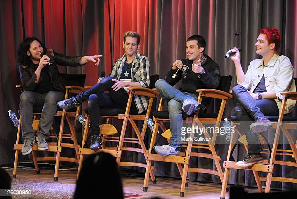 Ray Toro Mikey Way Frank Iero and Gerard Way of My Chemical Romance speak during American Express Presents My Chemical Romance at The GRAMMY Museum...