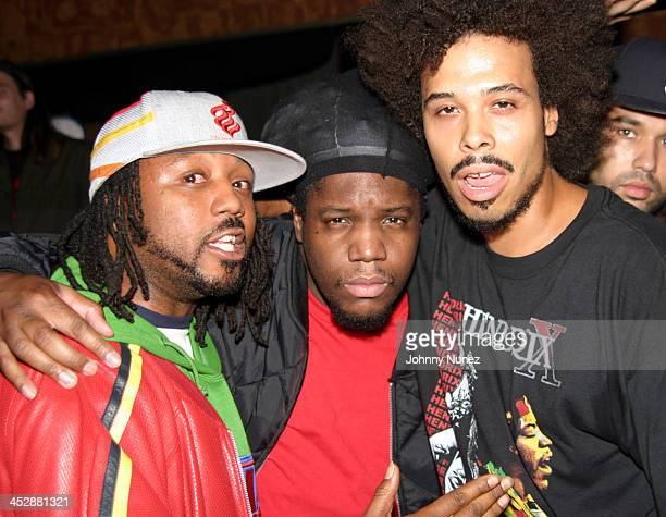 C Ray Walz DJ Evil Dee and Bizaare Royale during Talib Kweli Hosts Jean Grae Album Release Party at Joe's Pub in New York City New York United States
