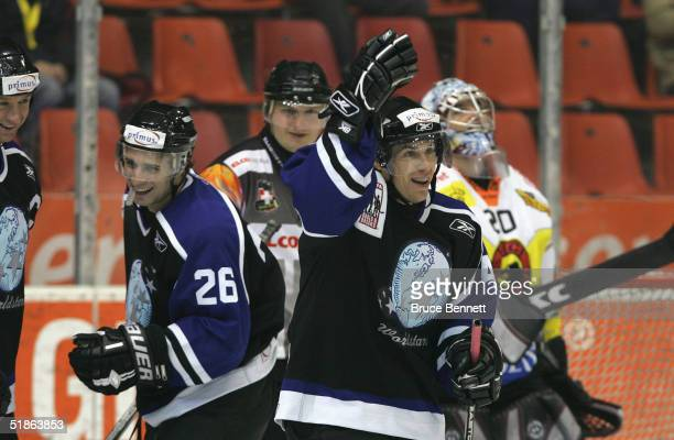 Ray Whitney celebrates his second goal of the game for the Primus Worldstars as they defeated SC Bern on December 15, 2004 at Bern Arena in Bern,...