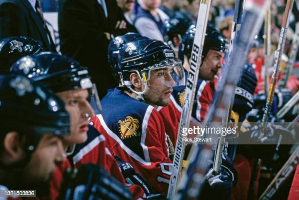 Ray Whitney, Center for the Florida Panthers looks on from the bench during the NHL Eastern Conference Northeast Division game against the Buffalo...