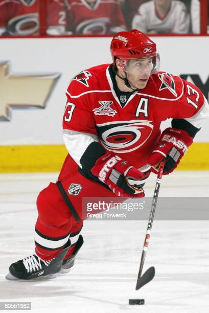 Ray Whitney of the Carolina Hurricanes carries the puck during their NHL game against the Florida Panthers on April 4, 2008 at RBC Center in Raleigh,...