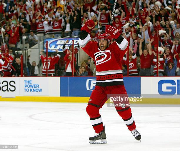 Ray Whitney of the Carolina Hurricanes celebrates a secondperiod goal against the Buffalo Sabres in game two of the Eastern Conference Finals during...