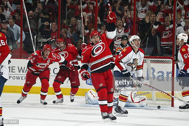 Ray Whitney of the Carolina Hurricanes celebrates after scoring a goal against the Florida Panthers during their NHL game on October 10 2008 at RBC...