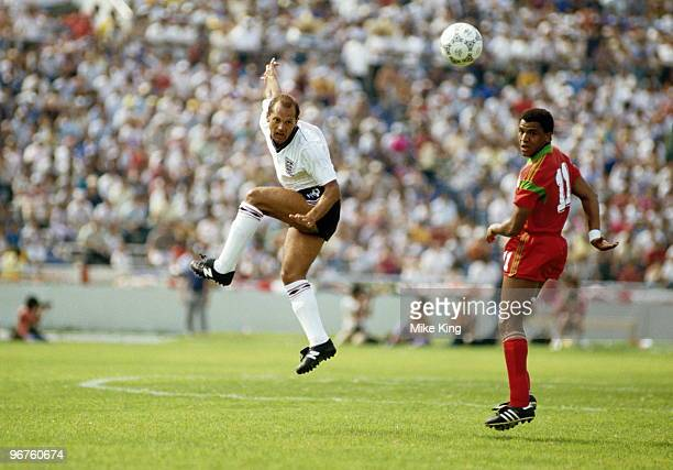 Ray Wilkins of England and Mustafa Merry of Morocco in action during the 1986 FIFA World Cup Group F match on 6 June 1986 at the Tecnologico Stadium...