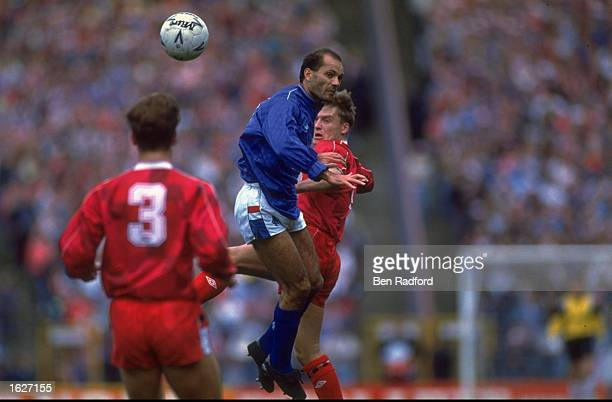 Ray Wilkins of Rangers heads the ball during the Skol Cup Final match against Aberdeen at Hampden Park in Glasgow Scotland Aberdeen won the match 21...