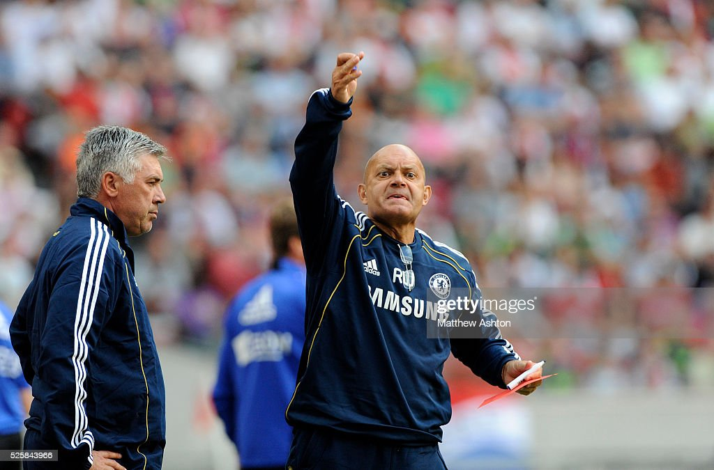 Ray Wilkins (right) the assistant head coach / assistant manager of Chelsea and Carlo Ancelotti the head coach / manager of Chelsea