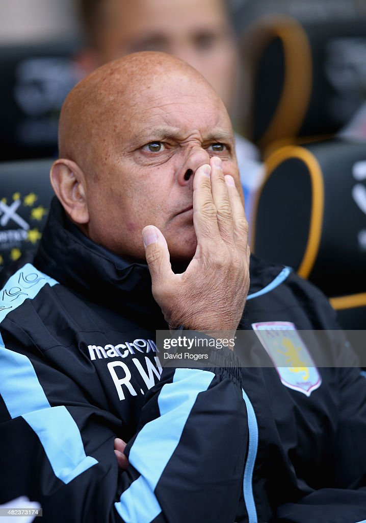 Ray Wilkins, the Aston Villa assistant coach looks on during the pre season friendly between Wolverhampton Wanderers and Aston Villa at Molineux on July 28, 2015 in Wolverhampton, England.