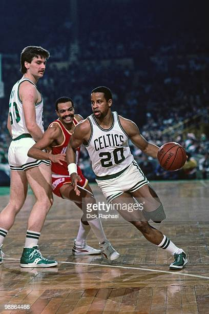 Ray Williams of the Boston Celtics drives to the basket against the Houston Rockets during a game played in 1985 at the Boston Garden in Boston...