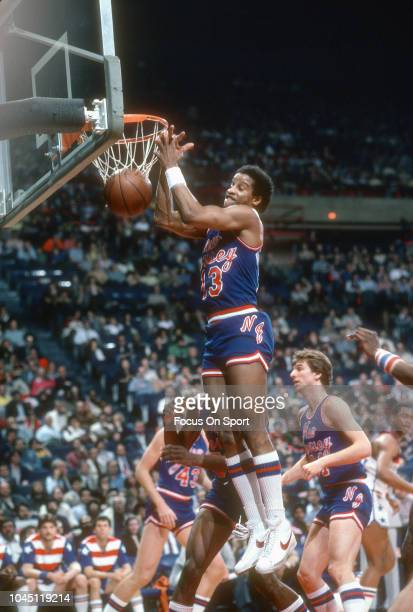 Ray Williams of the New Jersey Nets in action against the Washington Bullets during an NBA basketball game circa 1981 at the Capital Centre in...