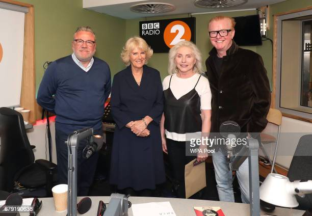Ray Winston Debbie Harry from Blondie and Chris Evans pose with Camilla Duchess of Cornwall as she joins the '500 Word' judging panel a creative...