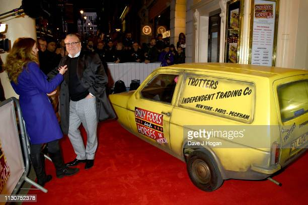 Ray Winstone speaks to media as he attends the opening night of Only Fools and Horses The Musical at Theatre Royal Haymarket on February 19 2019 in...
