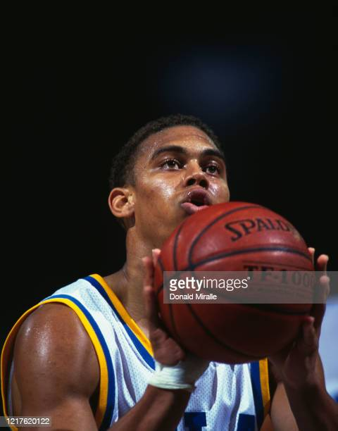Ray Young Guard for the University of California Los Angeles UCLA Bruins prepares to shoot during the NCAA Pac10 Conference college basketball game...