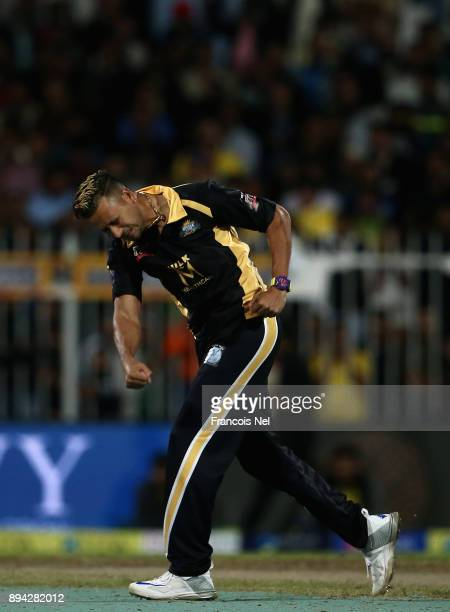 Rayad Emrit of Kerela Kings celebrates during the T10 League Final match between Kerela Kings and Punjabi Legends at Sharjah Cricket Stadium on...