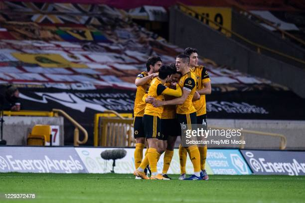 Rayan Ait Nouri of Wolverhampton Wanderers celebrate with his teammates Conor Coady and Max Kilman after scoring 1st goal during the Premier League...