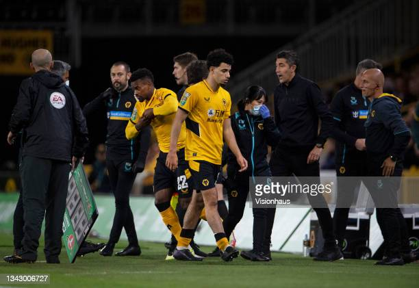 Rayan Ait-Nouri of Wolverhampton Wanders is substituted following a head injury during the Carabao Cup Third Round match between Wolverhampton...
