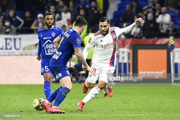 Rayan CHERKI during the Ligue 1 Uber Eats match between Lyon and Troyes at Groupama Stadium on September 22, 2021 in Lyon, France.