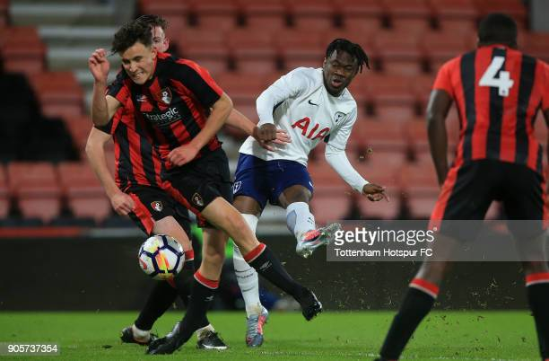 Rayan Clarke of Tottenham Hotspur shoots goalwards during the FA Youth Cup match between Bournemouth U18 and Tottenham Hotspur U18 at Vitality...