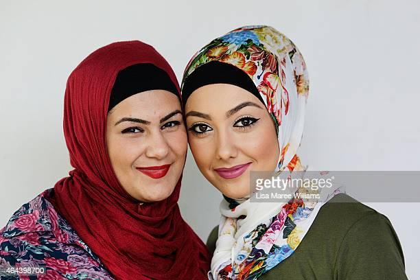 Rayan Elhazzouri and Aula Dbouk pose for a portrait whilst visiting Sara Elmir's home clothing studio on December 4 2014 in Bankstown Australia Sara...