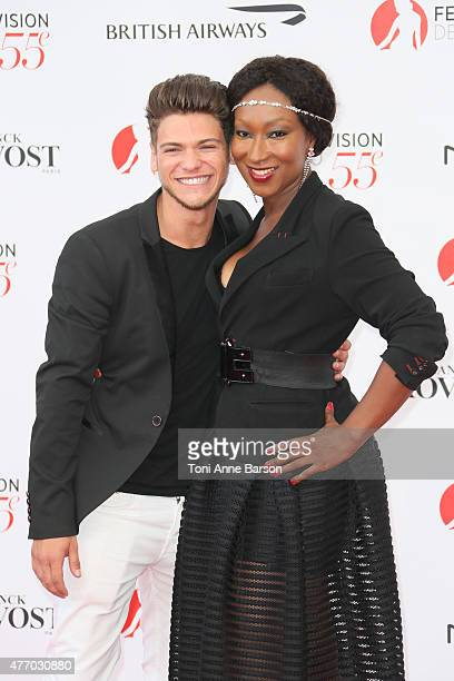 Rayane Bensetti and Nadege BeaussonDiagne attend the 55th Monte Carlo TV Festival Opening Ceremony at the Grimaldi Forum on June 13 2015 in...