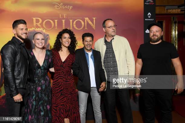 Rayane Bensetti Anne Sila Sabrina Ouazani Jamel Debbouze Jean Reno and Alban Ivanov attend The Lion King Paris Gala Screening At Le Grand Rex on July...