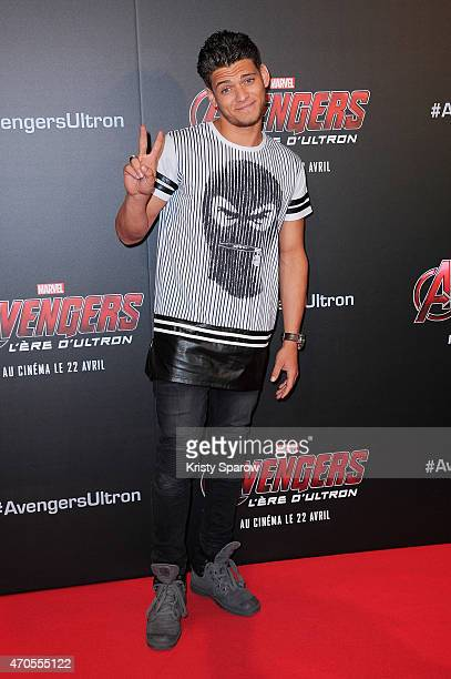 Rayane Bensetti attends the 'Avengers L'Ere D'Ultron' Paris Premiere at Cinema UGC Normandie on April 21 2015 in Paris France