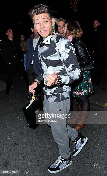 Rayane Bensetti is seen outside the Conchita Wurst Crazy Horse Show Premiere at Le Crazy Horse on November 9 2014 in Paris France