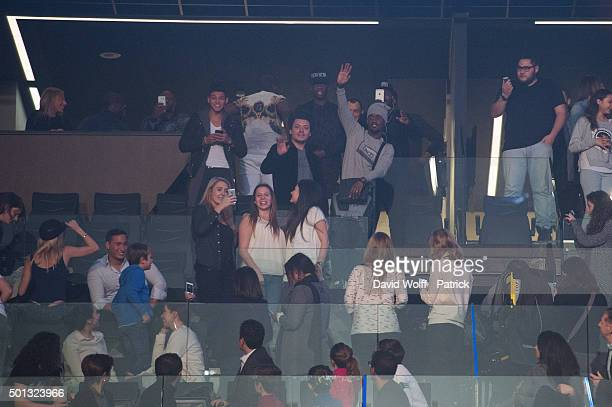 Rayane Bensetti Kev Adams and Black M attend Maitre Gims Show at AccorHotels Arena on December 14 2015 in Paris France